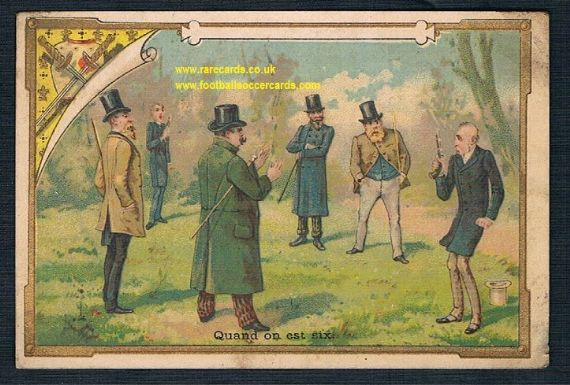1890s duelling rifle guns pistol shooting gentlemen's duel French trade card
